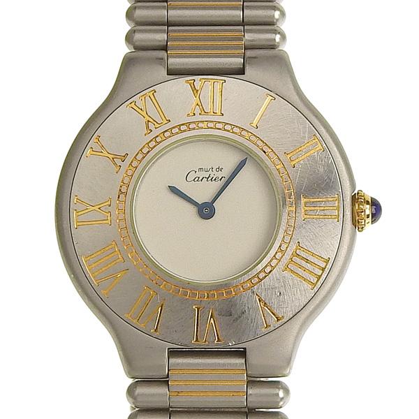 ☆B楽市ネット店☆本物 Cartier カルティエ マスト21 メンズ クォーツ 腕時計 ジャンク 【時計】【中古】