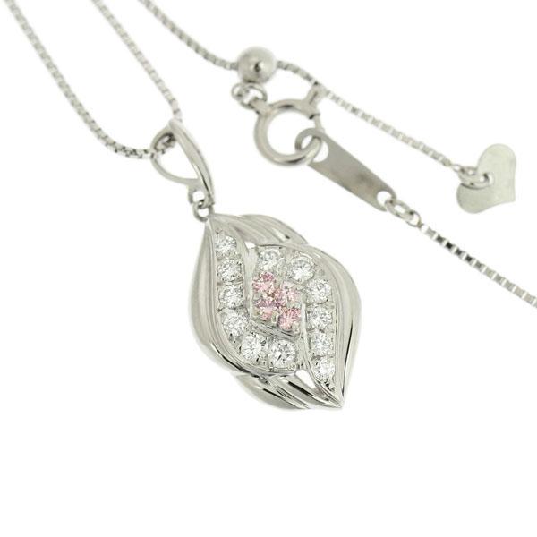 B楽市本店 本物 プラチナ Pt950 ピンクダイヤモンド 0 07ct ダイヤモンド 0 23ct ネックレス 44cm トップ 2 5g 2 3gZXOuTiPk