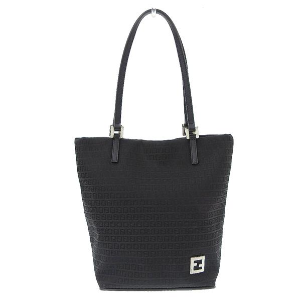 FENDI AL完売しました 20201218 ☆B楽市本店☆ 流行のアイテム FENDI フェンディ 中古 ブラック ズッキーノ トートバッグ バッグ