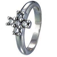 ジルコニアクロスストーン シルバーリング(指輪)*FREE STYLE(フリースタイル)