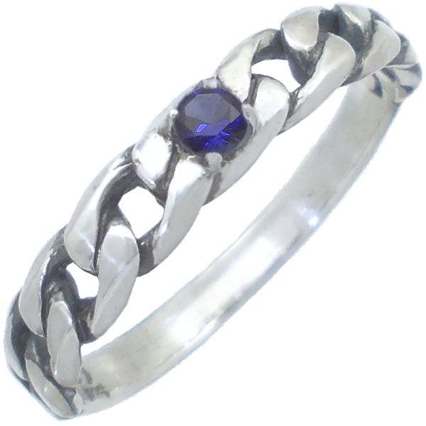 (9月)サファイア ブラック ミディアム キヘイ シルバーリング(指輪)*SWANKY(スワンキー) 千鳥格子 誕生石