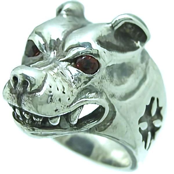 BWL(ビルウォールレザー) ラージドッグヘッド シルバーリング(指輪)ウィズストーン Dog Head