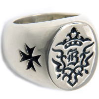 BWL(ビルウォールレザー) Bクラウンウィズクロス シルバーリング(指輪)[Ltd.99]