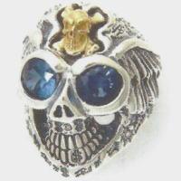 BWL(ビルウォールレザー) グラフティマスタースカルウィズウイング18Kストーン シルバーリング(指輪)Master Skull