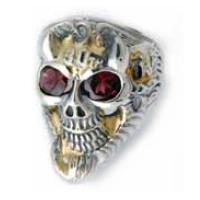 BWL(ビルウォールレザー) ガーネットゴールドオーバーレイ30thフライングタイヤマスタースカル シルバーリング(指輪)Master Skull
