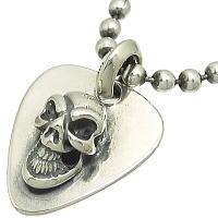 グッドラックスカル シルバーピッグタグ*BWL(ビルウォールレザー)Good Luck Skull Dog Tag