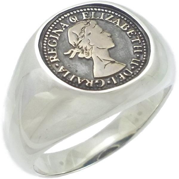 ブラス オーバル 6ペンス シルバーリング(指輪)*AQUA SILVER(アクアシルバー)