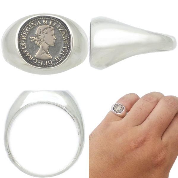 ブラス オーバル 6ペンス シルバーリング 指輪AQUA SILVER アクアシルバーoBedCx