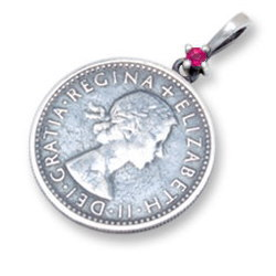 (7月)ルビー6ペンスコイン シルバーペンダントトップ*AQUA SILVER(アクアシルバー)/誕生石