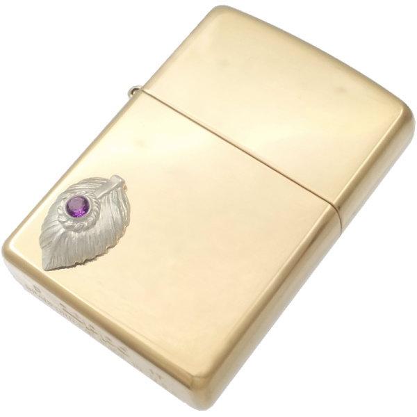 (2月)アメジスト ホワイト ネイディブ ハート フェザー ブラスジッポ 誕生石