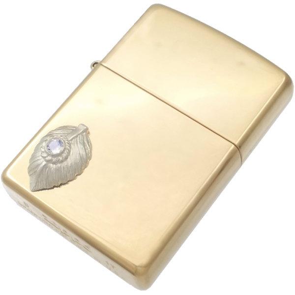 (6月)ブルームーンストーン ホワイト ネイディブ ハート フェザー ブラスジッポ 誕生石