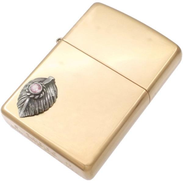 (10月)ピンクトルマリン ブラック ネイディブ ハート フェザー ブラスジッポ 誕生石