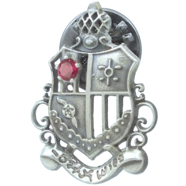 (7月)ルビー シールド エンブレム シルバーピンバッジ ピンズ 誕生石