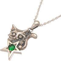 大きな願い星とネコのストーン シルバーペンダントトップ*NORA(ノラ/のら)