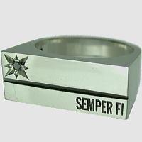 STONE COFFIN シルバーリング[フロントストーンカスタム](指輪)*SEMPER FI(センパーフィ)