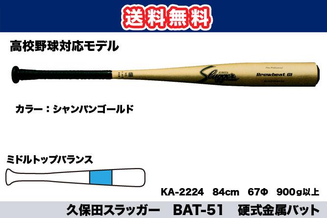 【送料無料】久保田スラッガー BAT-51 硬式金属バット(高校生対応モデル)