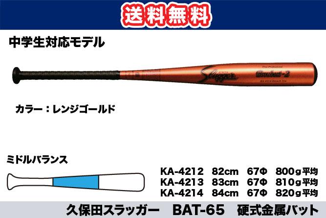 【送料無料】久保田スラッガー BAT-65 硬式金属バット(中学生対応モデル)