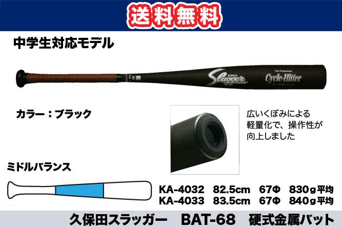 【送料無料】久保田スラッガー BAT-68 硬式金属バット(中学生対応モデル)