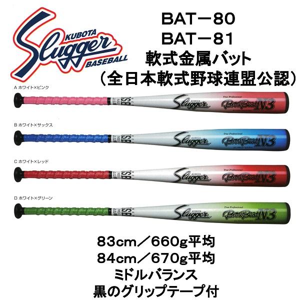久保田スラッガー 軟式金属バット BAT-80/81