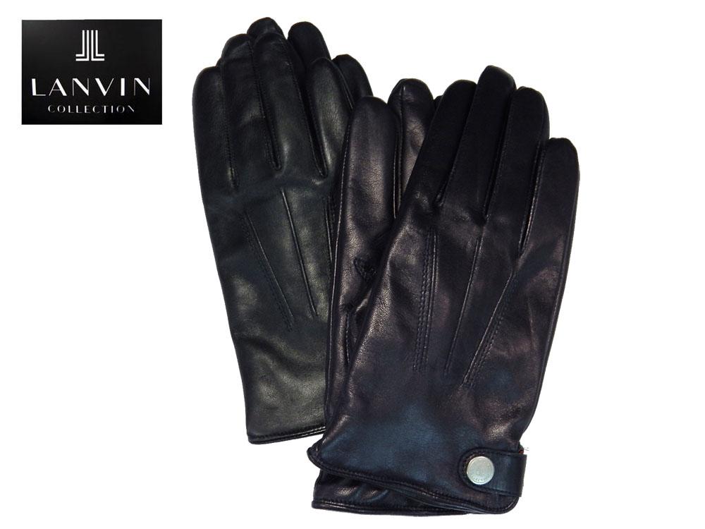 """LANVIN COLLECTION 羊革製 グローブ カシミヤ製のライニングで""""あったか""""仕様 ちょっとお洒落な""""大人の手袋"""" プレゼントにも最適 あす楽対応"""
