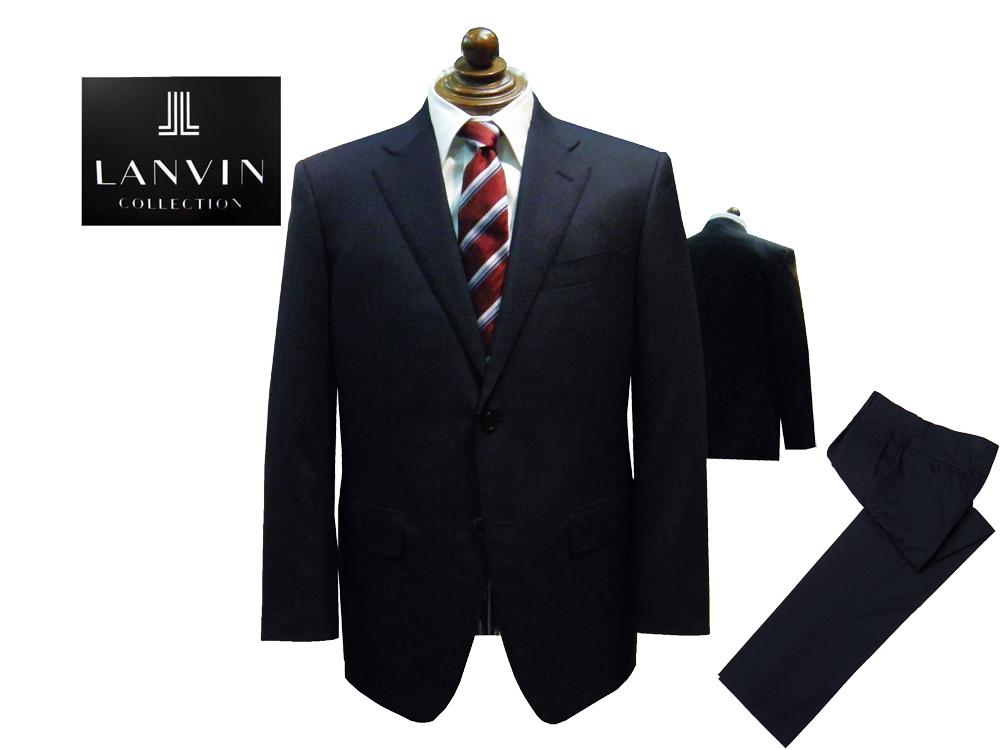 LANVIN COLLECTION 国内縫製 トロピカル ストライプ スーツ ネイビー 2釦 春・夏モデル イタリア製服地使用 あす楽対応 ランバンコレクション AB5サイズ