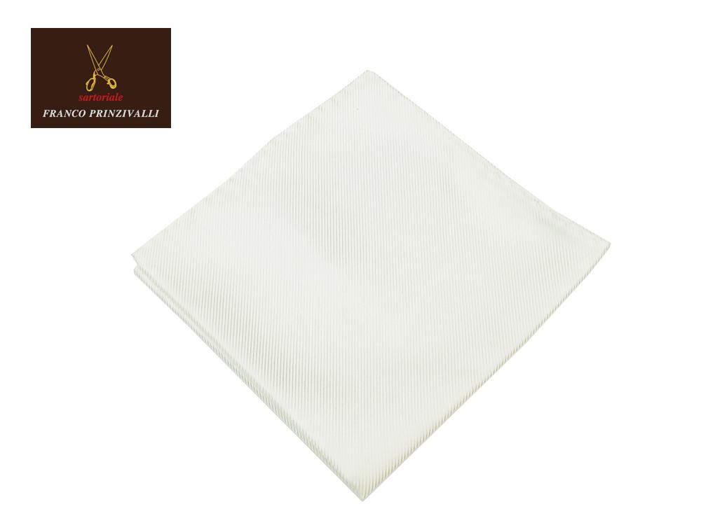 FRANCO PRINZIVALLI クオリティが抜群に素晴らしいポケットチーフ シルク ホワイト 世界屈指のイタリアのサルト MADE IN JAPAN あす楽対応 絹
