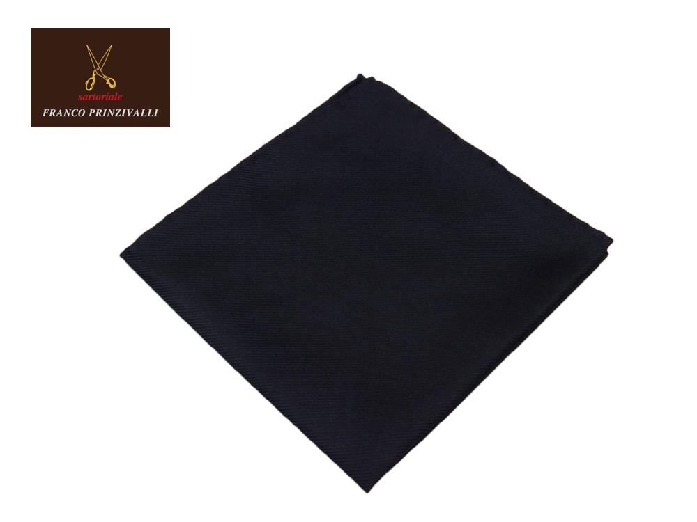 FRANCO PRINZIVALLI クオリティが抜群に素晴らしいポケットチーフ シルク ネイビー 世界屈指のイタリアのサルト MADE IN JAPAN あす楽対応 絹