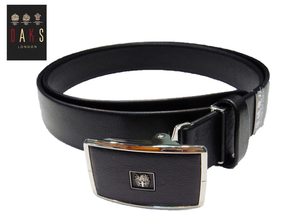 DAKS スライドバックル式ベルト Lサイズ 国内縫製 スムースレザー ブラック 牛革(仔牛) 袋縫い仕立 3.0cm幅 あす楽対応 プレゼントにも最適