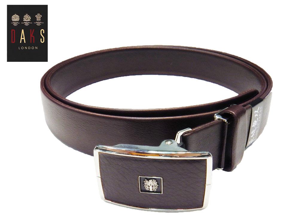 DAKS スライドバックル式ベルト Lサイズ 国内縫製 スムースレザー チョコ 牛革(仔牛) 袋縫い仕立 3.0cm幅 あす楽対応 プレゼントにも最適