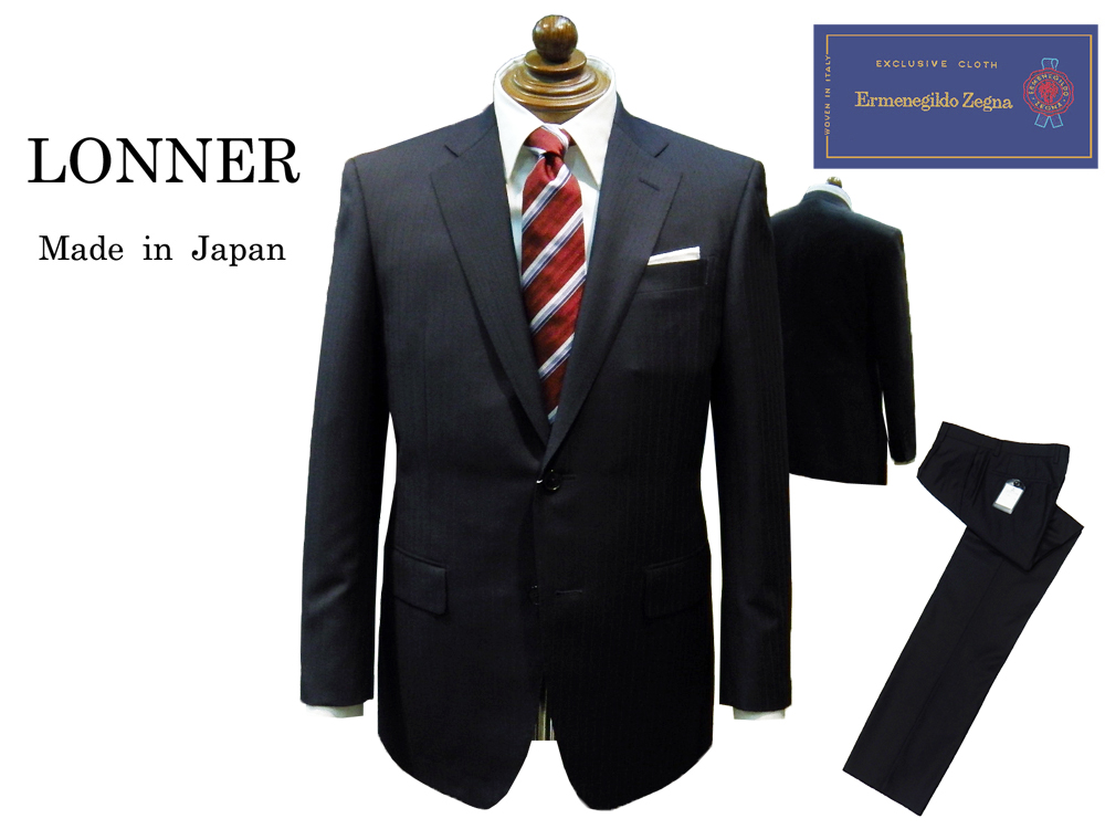 "LONNER×Ermenegildo Zegna トラディショナルスーツ 国内縫製 ネイビー シャドーストライプ ""日本を代表するスーツメーカーが本気で作ったスーツ"" 2釦 2020年春・夏 ロンナー あす楽対応 TRAVELLER"
