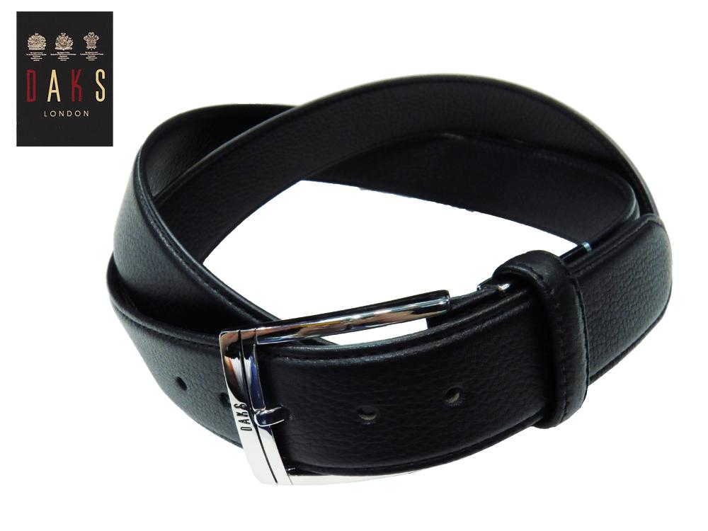 DAKS ビジネスベルト Lサイズ 国内縫製 シボ・レザー ブラック 牛革 ピンタイプ 3.5cm幅 大きめバックル あす楽対応 プレゼントにも最適