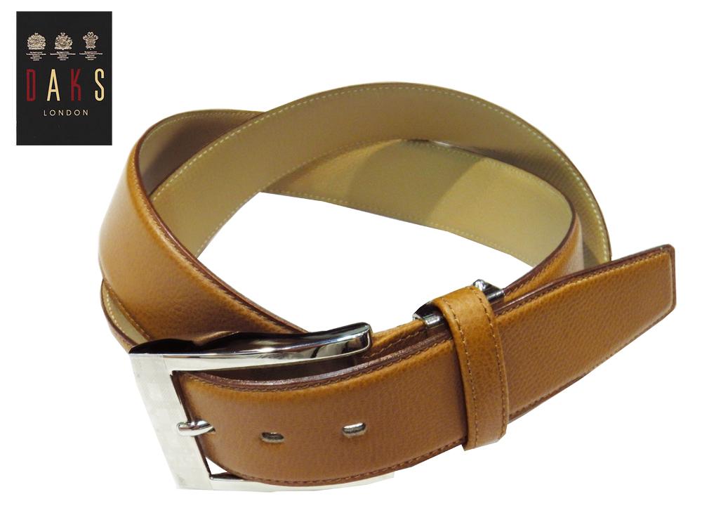 DAKS ドレスカジュアルベルト 国内縫製 シボレザー ブラウン 牛革 ピンタイプ 3.5cm幅 大きめバックル レギュラーサイズ あす楽対応 プレゼントにも最適 幅広