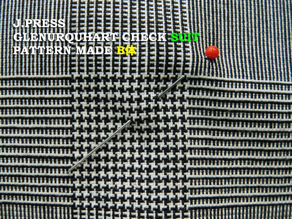 Jプレス J.PRESS(ジェイ・プレス) MEN パターンメイド スーツ B体 定番 グレンチェック柄 スーツ 3つ釦段返り フックベント 1型 春・夏 Jプレス メンズ 3週間程度 AUTHENTICモデル ゆったり B4~B8