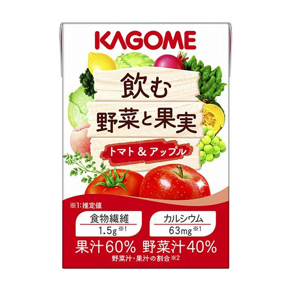 カゴメ 栄養補助食品 食物繊維 カルシウム 飲料 おしゃれ 飲む野菜と果実 トマト KAGOME 爆安プライス 100ml アップル