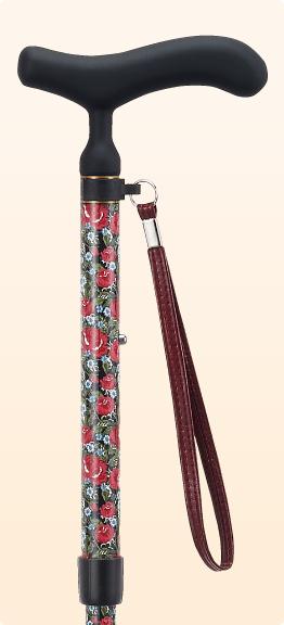 ステッキ 杖 折りたたみ おしゃれ 愛杖 あいじょう カーボンシリーズ レッド 花柄 C-71