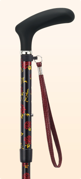 ステッキ 杖 折りたたみ おしゃれ 愛杖 あいじょう カーボンシリーズ パターグリップ ブラック 花柄 C-122