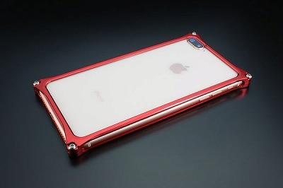 新品 スマホ ケース iphone GI-412R ソリッドバンパー iP8P/7P/レッド