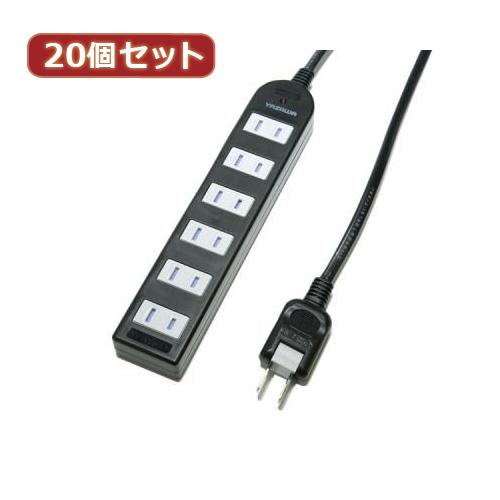 YAZAWA 20個セット ノイズフィルター付AV機器タップ Y02KNS601BKX20