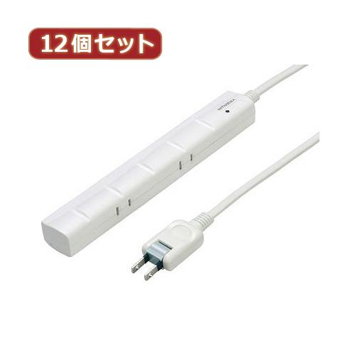YAZAWA 12個セット 3P対応スリムタップ5個口5mマグネット Y02YJKP505WHX12