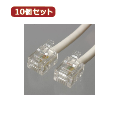 YAZAWA 10個セットツイストモジュラーケーブル 10m 白 TP3100WX10