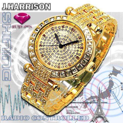 J.HARRISON 天然ルビー1石付シャイニング電池式電波時計紳士用 JH-088M