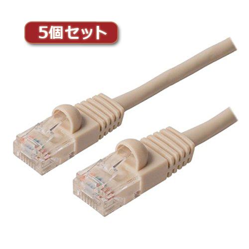 5個セット ミヨシ カテ5eストレ-トLANケーブル 20m アイボリ- TWN-520IVX5