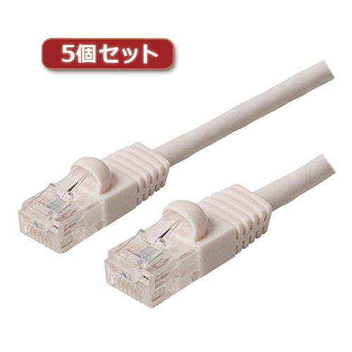 5個セット ミヨシ カテ6ストレ-トLANケーブル 20m ホワイト TWN-620WHX5