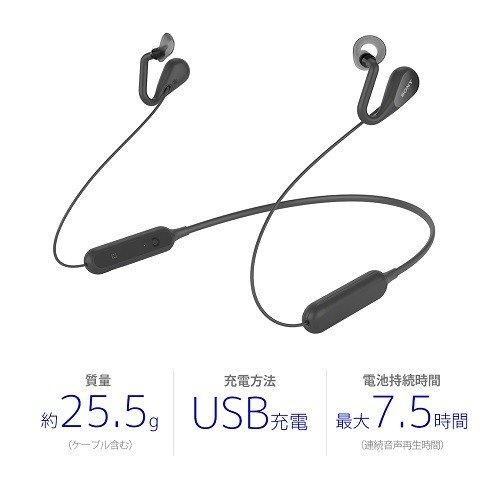 耳をふさがない開放型BluetoothワイヤレスイヤホンブラックソニーSBH82DJP