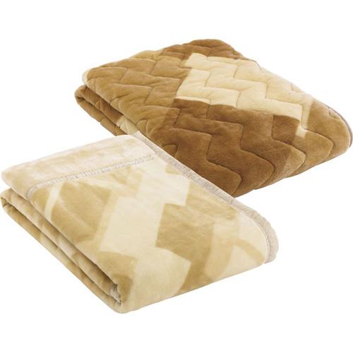 ムートンタッチマイヤー毛布&ムートンタッチ敷パット B3171097 B4172614