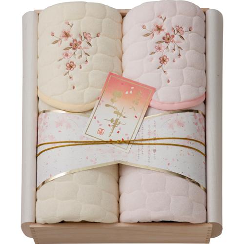 桜刺しゅう敷きパット2P(木箱入) B4157565