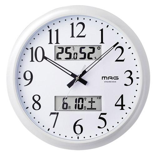 マグ 温度湿度計付電波掛時計 ダブルリンク M80809916
