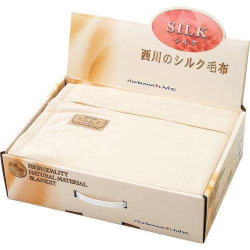 西川リビング 高級天然素材 ジャカード織シルク毛布(毛羽部分) B3172059