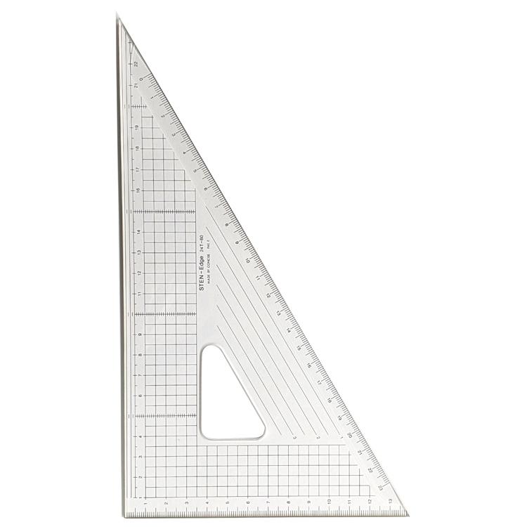 メール便可 カット作業に最適 コンサイス 新品未使用正規品 ステンエッジ三角定規 60度 24cm 側面ステンレス加工24T-60 ものさし 文房具 定規 製図 事務用品 スケール 大きい 結婚祝い