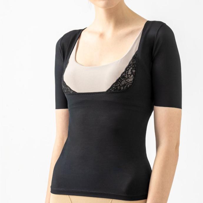 ナイツシェイパー美胸インナー (ブラック) New 光電子ナイト用 補整下着 就寝 ボディライン バスト 姿勢 メッシュエルローズ ビーフィット